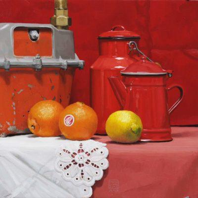 Contatore arancio - olio su tav. - 40 x 40 cm