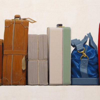 Portam' a valiggia - olio tav. 60 x 126 cm