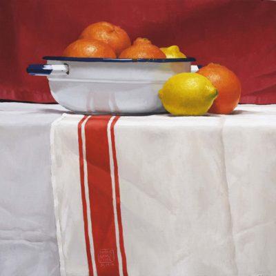 Tre righe rosse - olio su tav. - 40 x 40 cm