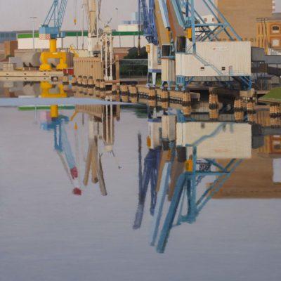 Alba di maggio - olio tav. 160 x 80 cm
