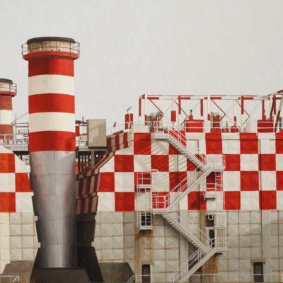 Centrale a scacchi - olio tav. 80 x 160 cm