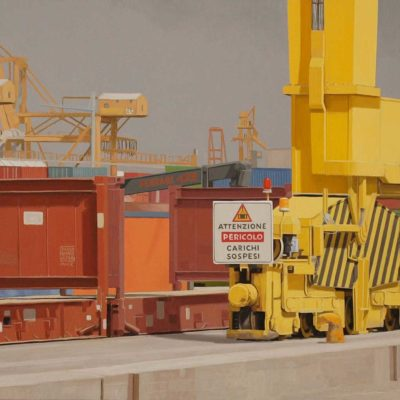 Attenzione carichi sospesi - 2010, olio su tela, 60 x 180 cm
