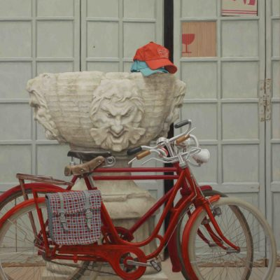 Forse hanno una pompa ( uff. biciclette rosse) - 2014, olio su tavola 150 x 125 cm