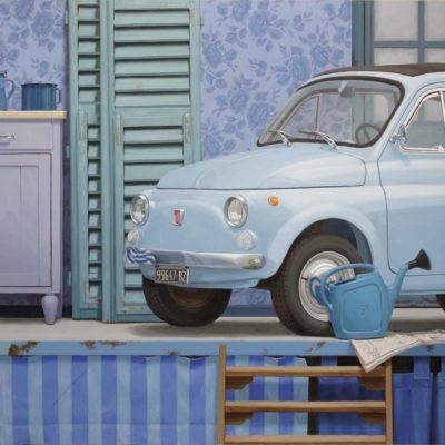 Il cinquino azzurro ( e non solo lui ) 2010-11 olio su tavola 150 x 250 cm