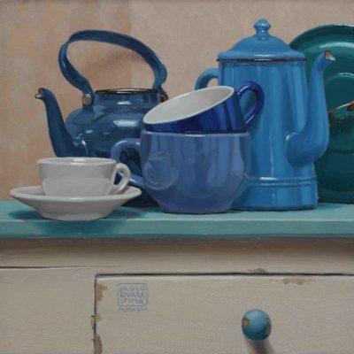 Colazione blu - 2018, olio su tavola 40 x 40 cm