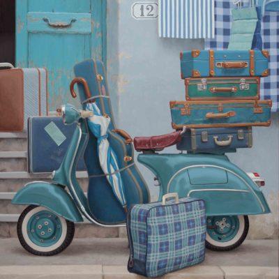 Troppi bagagli - 2013, olio su tavola 150 x 125 cm