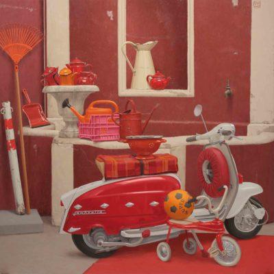 Esselasifacesserossa (punto di dom.) 2014 - olio su tavola 150 x 150 cm