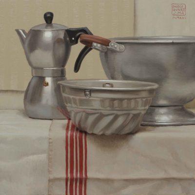 Piccola tortiera - 2016, olio su tavola 40 x 40 cm