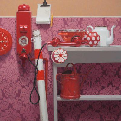 Telefono rosso - 2012, olio su tela 100 x 100 cm