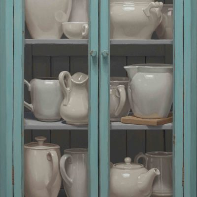 Vetrina acquamarina - 2018, olio su tavola 110 x 65 cm