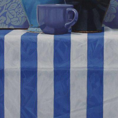 Tre cose blu - 2010, olio su tavola, 100 x 40 cm