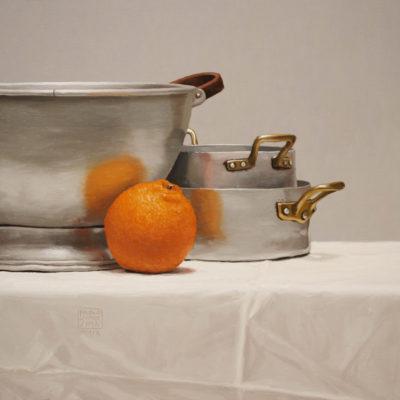 Una sola arancia - olio su tav. 40 x 40 cm