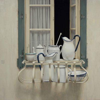 Bianco davanzale - 2013, olio su tavola 100 x100 cm