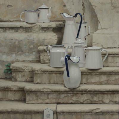 Chiacchiere alla fontana - 2013, olio su tavola