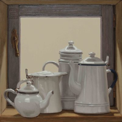Finestrino o magazzino - 2017, olio su tavola 40 x 40 cm