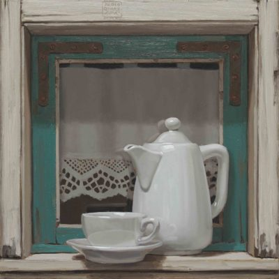 Caffellatte e finestrina - 2015, olio su tavola 40 x 40 cm