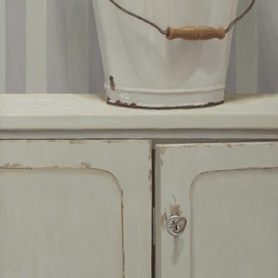 Secchiata di bianco - 2014, olio su tavola 100x 40 cm