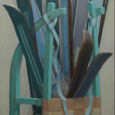 Ski-bouquet - 2013, olio su tavola 150 x 49 cm
