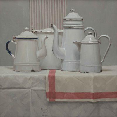 Chiacchiere vespertine - 2013, olio su tavola 50 x 50 cm