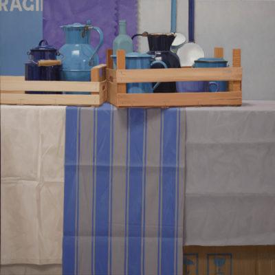 Due casse di blu - 2010, olio su tela, 100x 100 cm