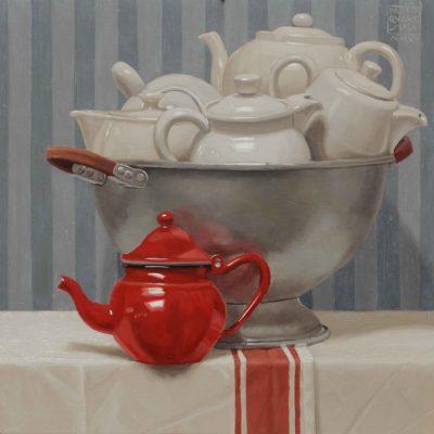 Una sola teiera è rossa - 2015, olio su tavola 40 x 40 cm