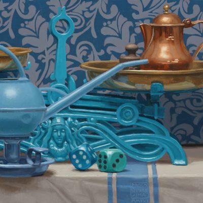 Bilancia e rame - 2016, olio su tavola 30 x 40 cm