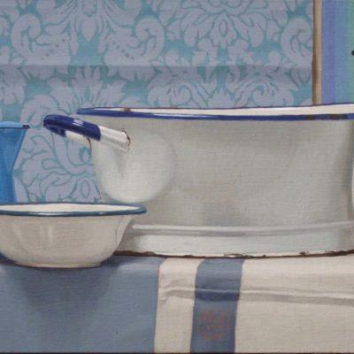 Quasi solo cose bianche - 2010, olio su tela, 40 x 120 cm