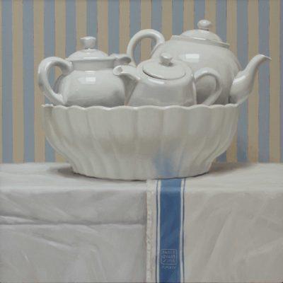 Zuppiera di teiere - 2014, olio su tavola 40 x 40 cm