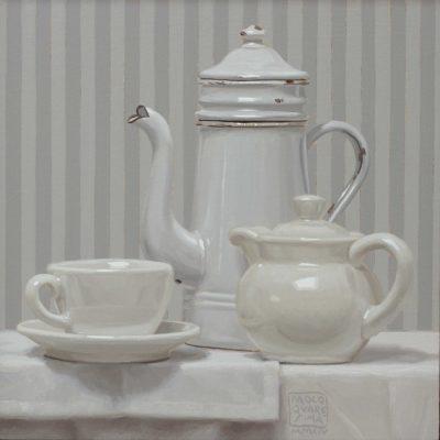 The o caffè§ - 2014, olio su tavola 30 x30 cm