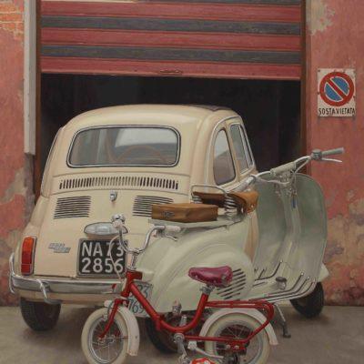 PICCOLO GARAGE - 2016, olio su tavola 180 x 150 cm