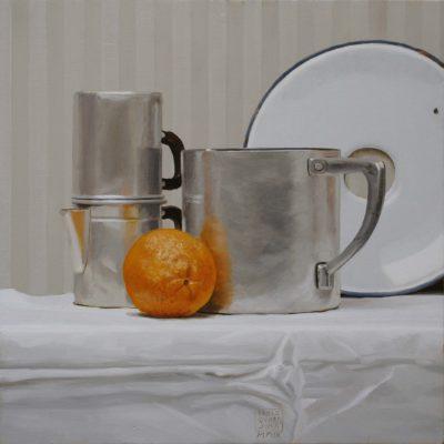 Un'arancia - olio tav. 40 x 40 cm