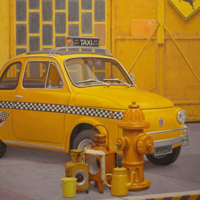 YELLOW CAB - 2014, olio su tavola 170 x 130 cm