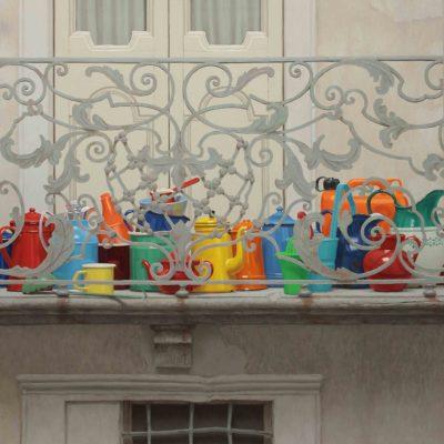 Balcone di primavera - 2014, olio su tavola 150 x 125 cm