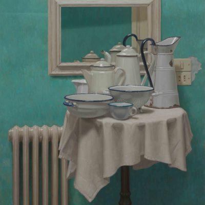 Tavolino di bianchi - 2017, olio su tavola 120 x 105 cm. IMG_6933