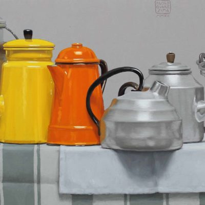 Arancio e limone, 2012, olio su tavola 40 x 100 cm
