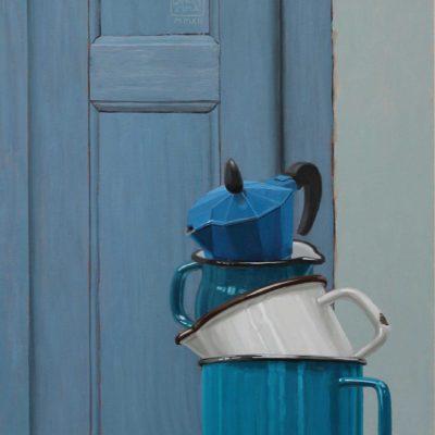Occhio quando apri!, 2012, olio su tavola 100 x 40 cm