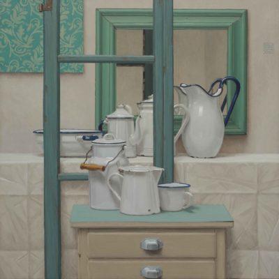 UNO specchio e MEZZA finestra - 2015, olio su tavola 100 x 100 cm