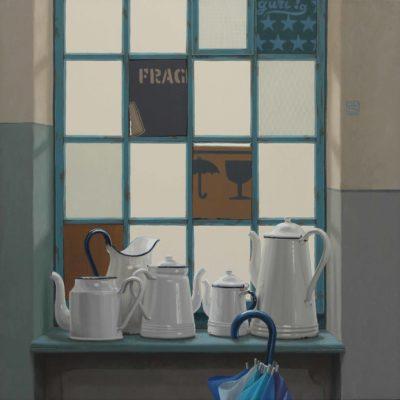 Rapidi rappezzi - 2015, olio su tavola 100 x 100 cm