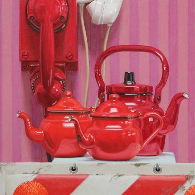 Telefoni e teiere, 2012, olio su tavola 100 x 40 cm