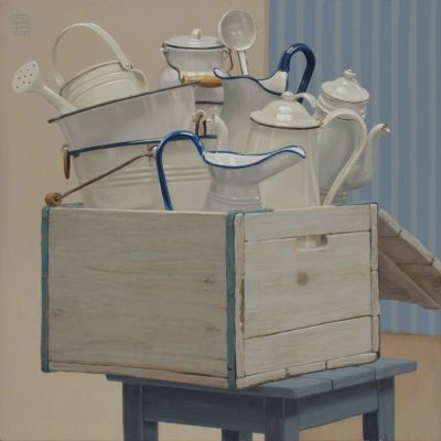 Cassa di bianchi - 2015, olio su tavola 70 x 70 cm