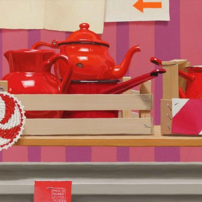 Trenino di rossi, 2012, olio su tavola 40 x 100 cm