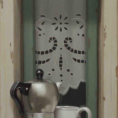 Macchiato su stretto davanzale - 2015, olio su tavola 62 x 30 cm