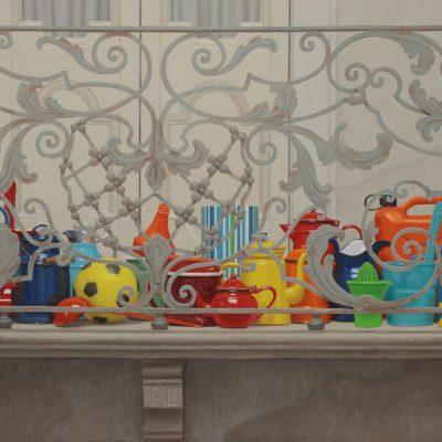 Balcone di primavera II - 2014, olio su tavola 110 x 175 cm