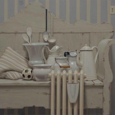 Sopra la panca la roba bianca... - 2017, olio su tavola 100 x 120 cm