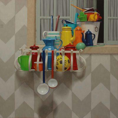 Fiorito davanzale - 2014, olio su tavola 124 x 124 cm