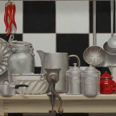 CASA MELE - 2016, olio su tavola 70 x 250 cm