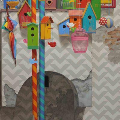 3 Il balcone di Papageno 2015 olio su tavola 170 x 125 cm. IMG 3192 400x400 - 02.Opere