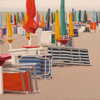 La spiaggia addormentata - 2011 -olio su tavola 40 x 80 cm