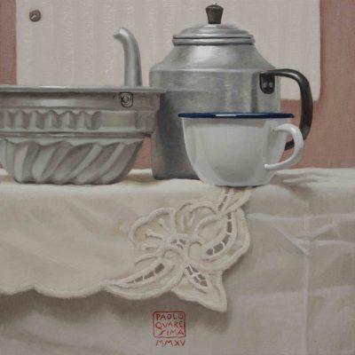 Colazione con la torta - 2015, olio su tavola 35 x 35 cm