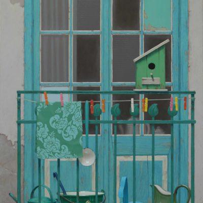 Poggiolino di verde - 2015, olio su tavola 150 x 100 cm